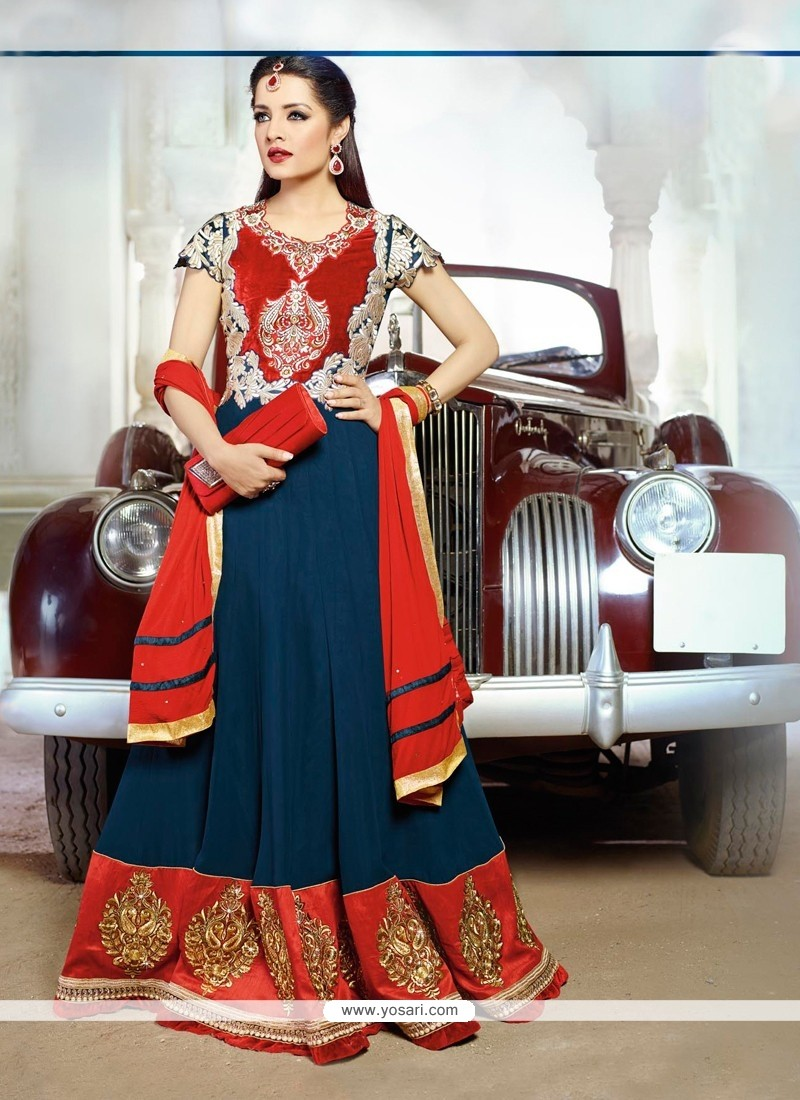 Celina Jaitly Blue And Red Resham Anarkali Suit