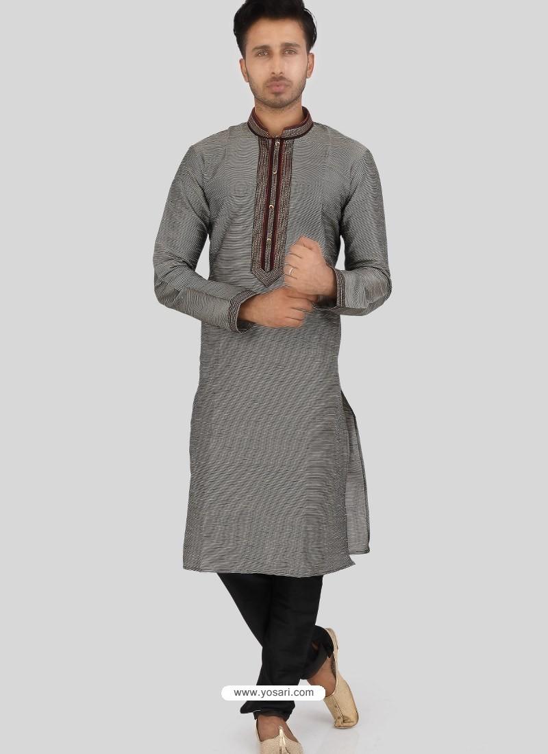 Grey Readymade Designer Party Wear Kurta Pajama For Men