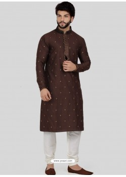 Coffee Readymade Designer Party Wear Kurta Pajama For Men