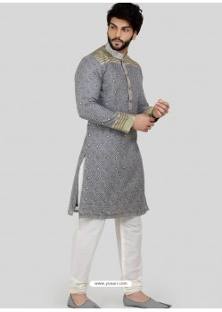 Grey Readymade Designer Party Wear Kurta Pajama For Men