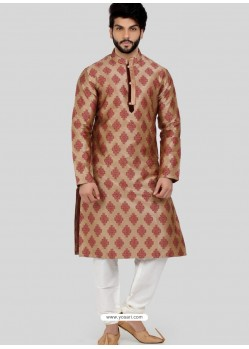 Beige Readymade Designer Party Wear Kurta Pajama For Men