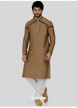 Camel Readymade Designer Party Wear Kurta Pajama For Men