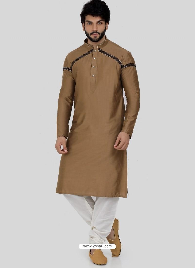 Camel Readymade Designer Party Wear Kurta Pajama For Men