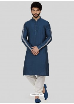 Teal Blue Readymade Designer Party Wear Kurta Pajama For Men