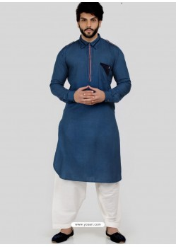 Dark Blue Readymade Designer Party Wear Kurta Pajama For Men