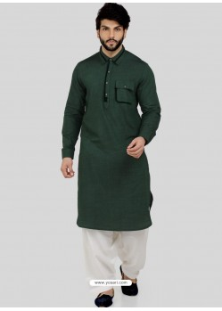 Dark Green Readymade Designer Party Wear Kurta Pajama For Men
