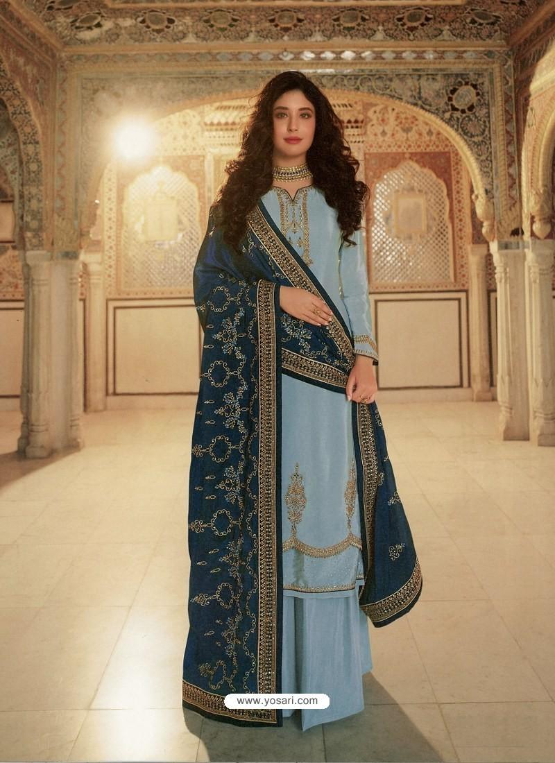 Aqua Grey Designer Heavy Party Wear Georgette Palazzo Salwar Suit