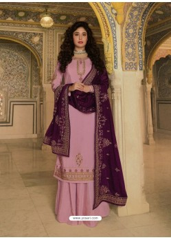 Pink Designer Heavy Party Wear Georgette Palazzo Salwar Suit