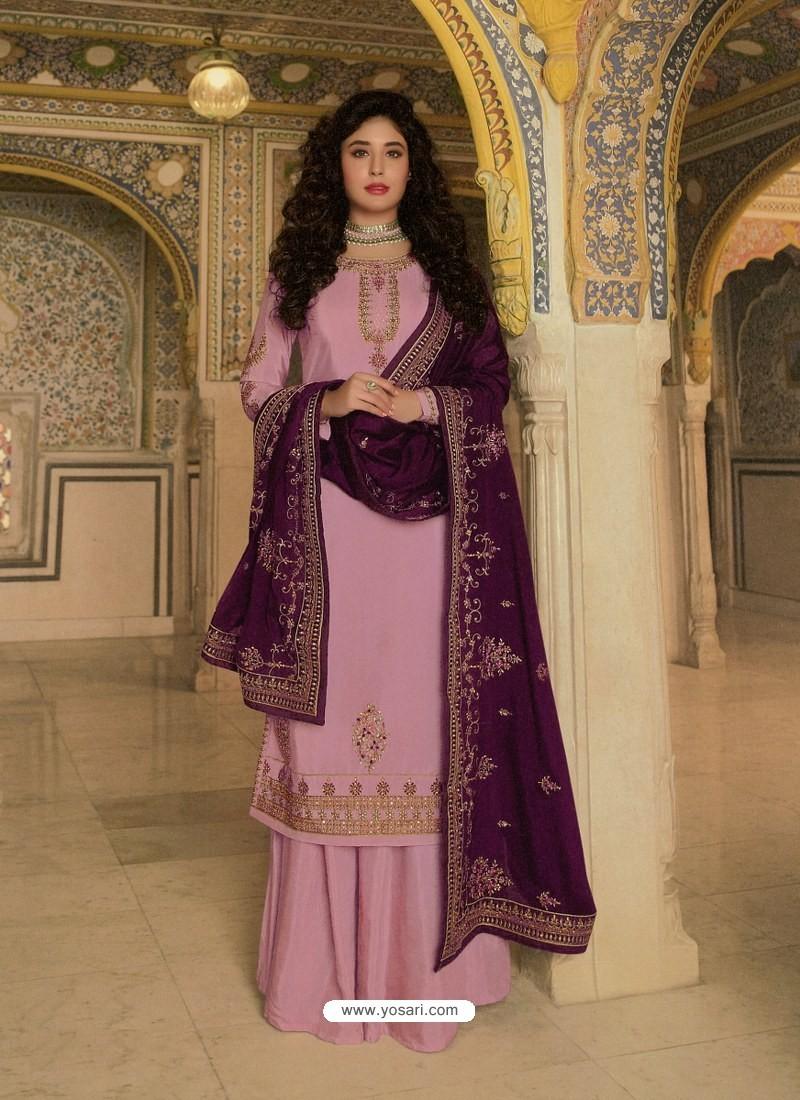 Pink Designer Heavy Party Wear Georgette Palazzo Salwar Suit
