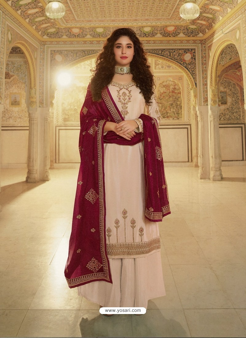 Off White Designer Heavy Party Wear Georgette Palazzo Salwar Suit