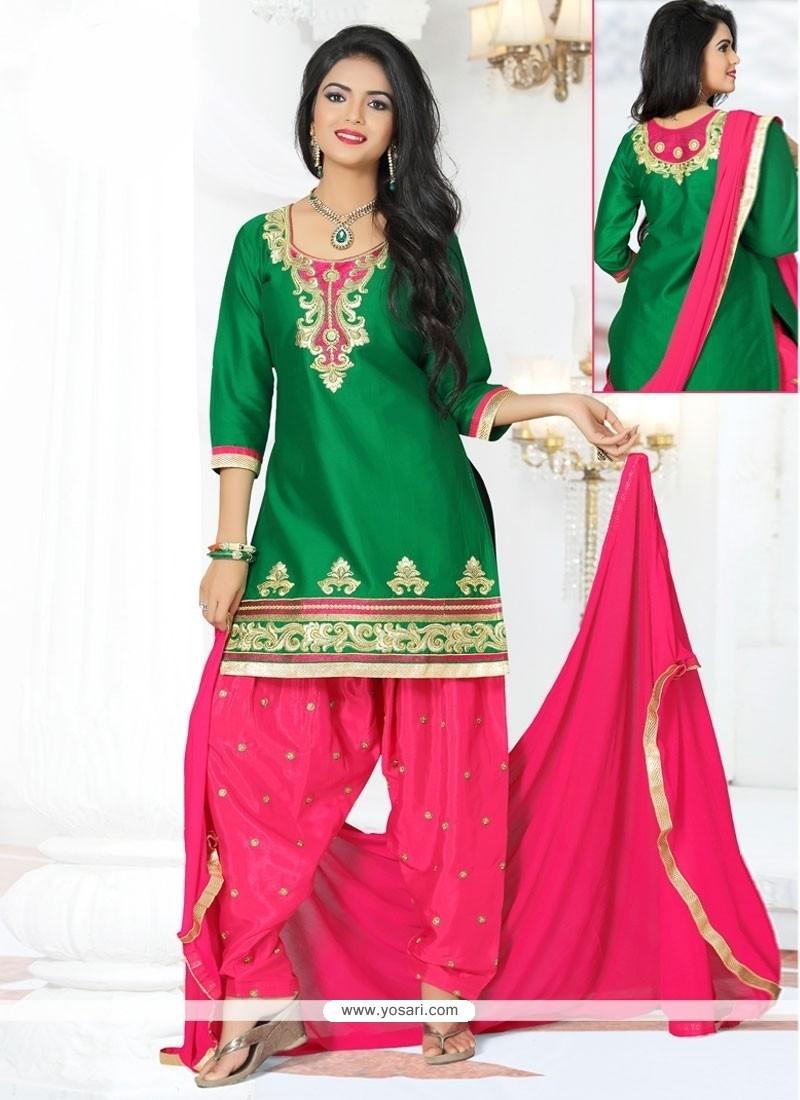 Fashionable Lace Work Designer Patila Salwar Suit