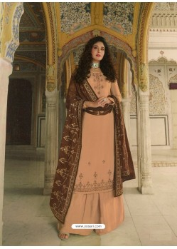 Light Orange Designer Heavy Party Wear Georgette Palazzo Salwar Suit