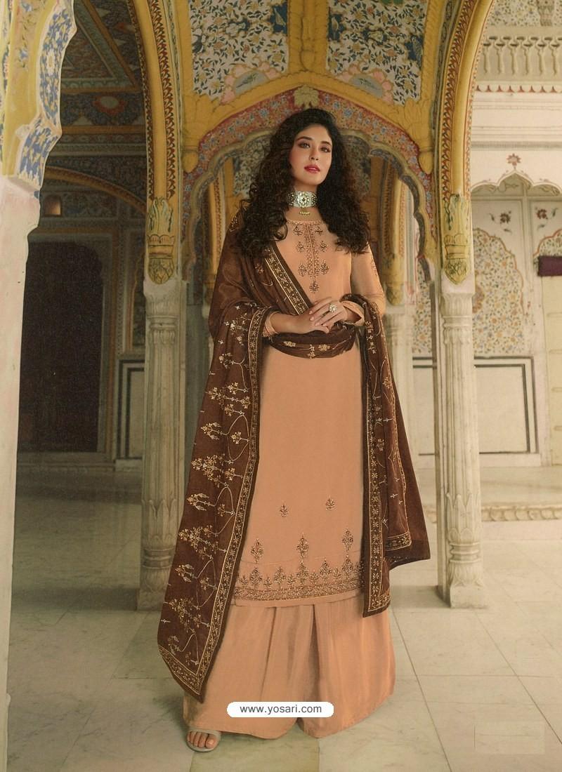 Light Orange Designer Heavy Party Wear Georgette Palazzo Salwar Suit