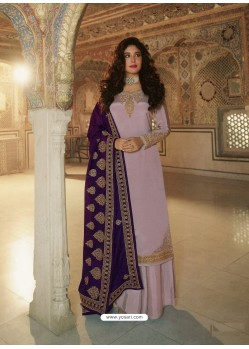 Dusty Pink Designer Heavy Party Wear Georgette Palazzo Salwar Suit