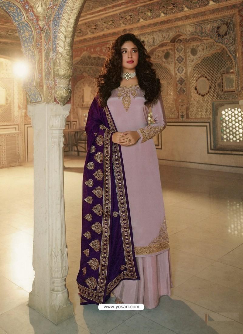 Dusty Pink Designer Heavy Party Wear Georgette Palazzo Salwar Suit