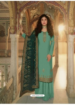 Aqua Mint Designer Heavy Party Wear Georgette Palazzo Salwar Suit