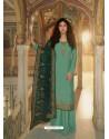 Aqua Mint Designer Heavy Party Wear Georgette Palazzo Salwar Suit