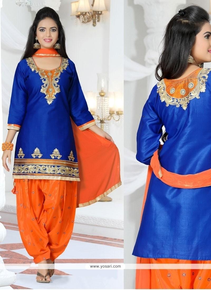 Stunning Cotton Embroidered Work Designer Patila Salwar Suit