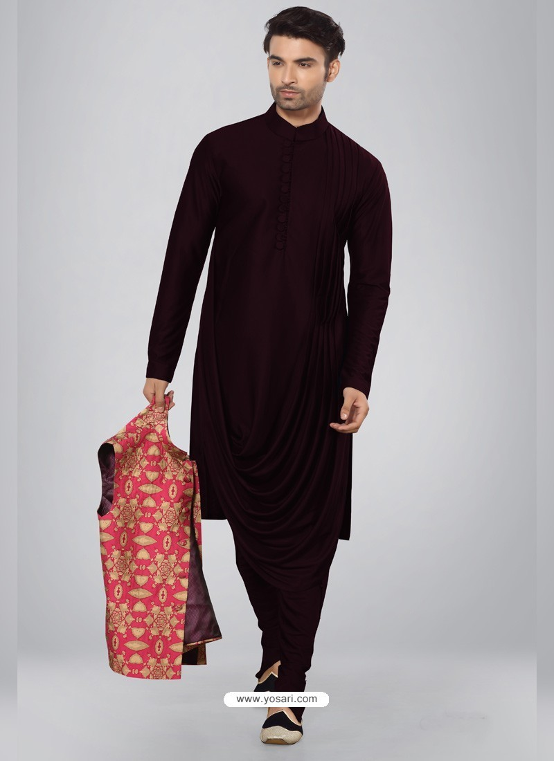 Deep Scarlet Readymade Designer Party Wear Kurta Pajama For Men
