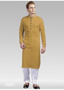 Mustard Readymade Designer Party Wear Kurta Pajama For Men