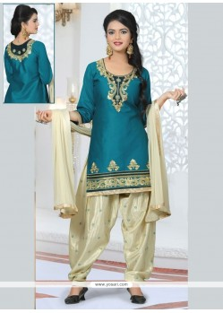 Divine Embroidered Work Designer Patiala Salwar Kameez