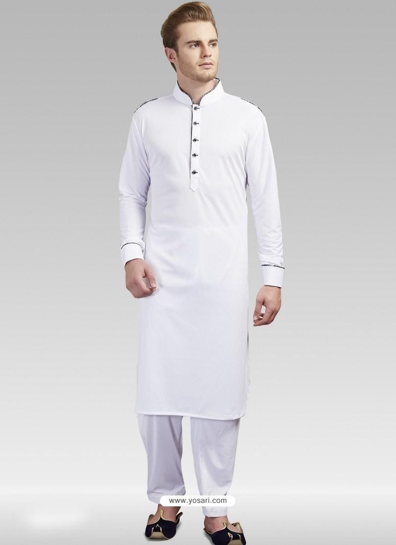 White Readymade Designer Party Wear Kurta Pajama For Men
