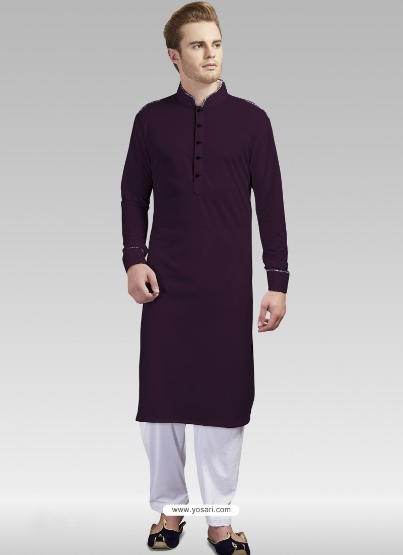Purple Readymade Designer Party Wear Kurta Pajama For Men