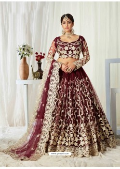 Maroon Scintillating Designer Heavy Wedding Wear Lehenga