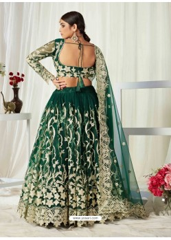 Dark Green Scintillating Designer Heavy Wedding Wear Lehenga