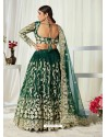 Dark Green Scintillating Designer Heavy Wedding Wear Lehenga