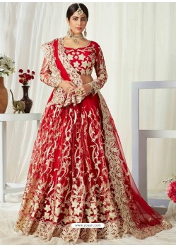 Red Scintillating Designer Heavy Wedding Wear Lehenga