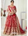 Red Scintillating Designer Heavy Wedding Wear Lehenga