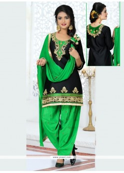 Thrilling Resham Work Black Patiala Suit