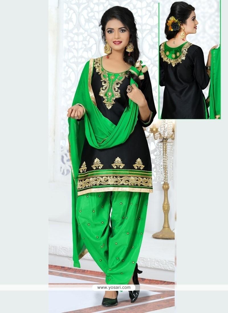 Thrilling Resham Work Black Patiala Suit