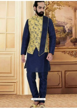 Navy Blue Readymade Designer Party Wear Kurta Pajama With Jacket