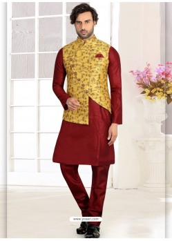 Maroon Readymade Designer Party Wear Kurta Pajama With Jacket