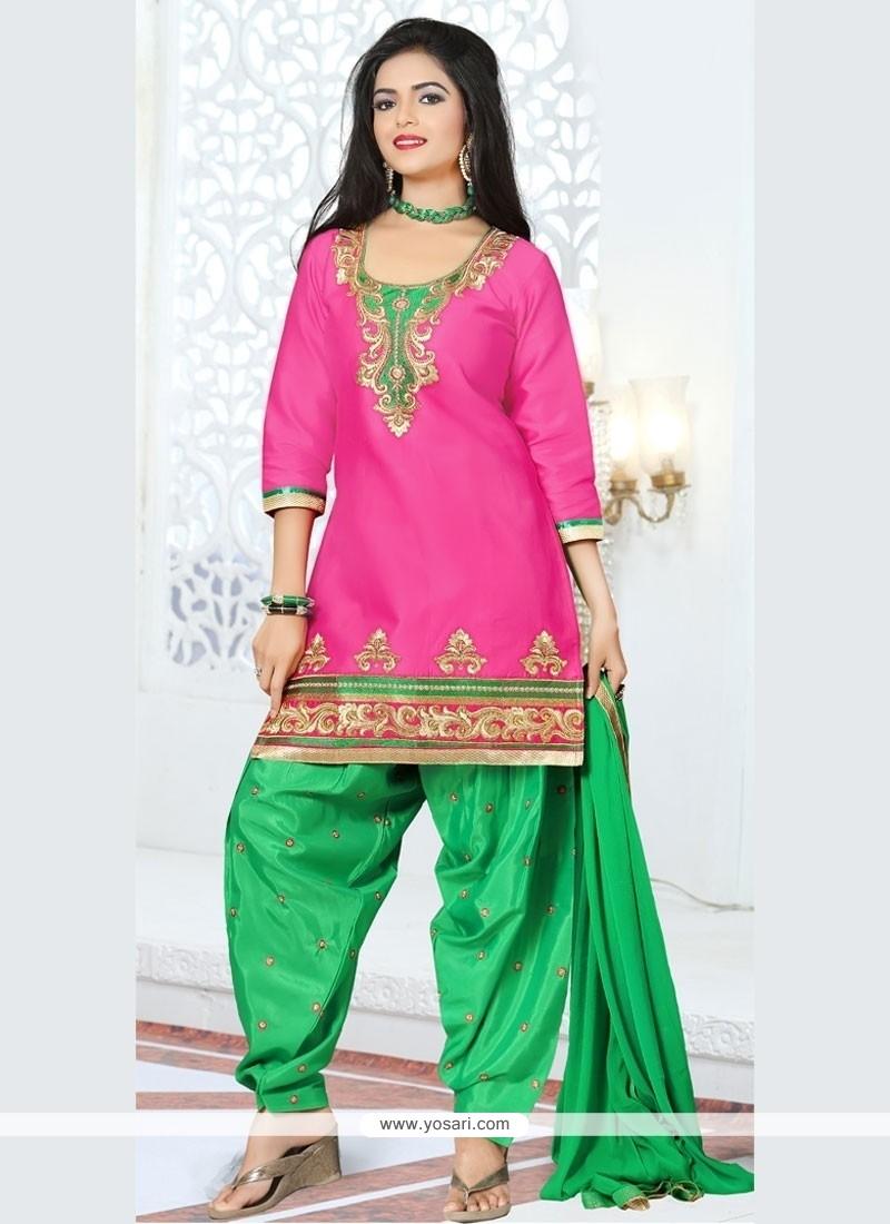 Gorgonize Hot Pink Cotton Designer Patila Salwar Suit