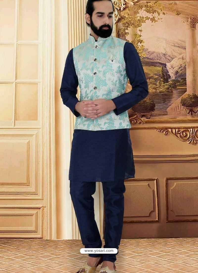 Navy Blue Readymade Designer Party Wear Kurta Pajama With Jacket