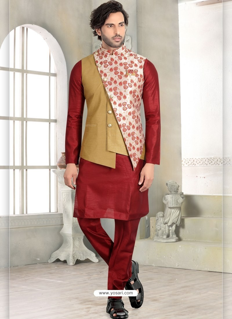 Maroon Readymade Designer Party Wear Kurta Pajama With Jacket