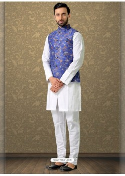 White Readymade Designer Party Wear Kurta Pajama With Jacket
