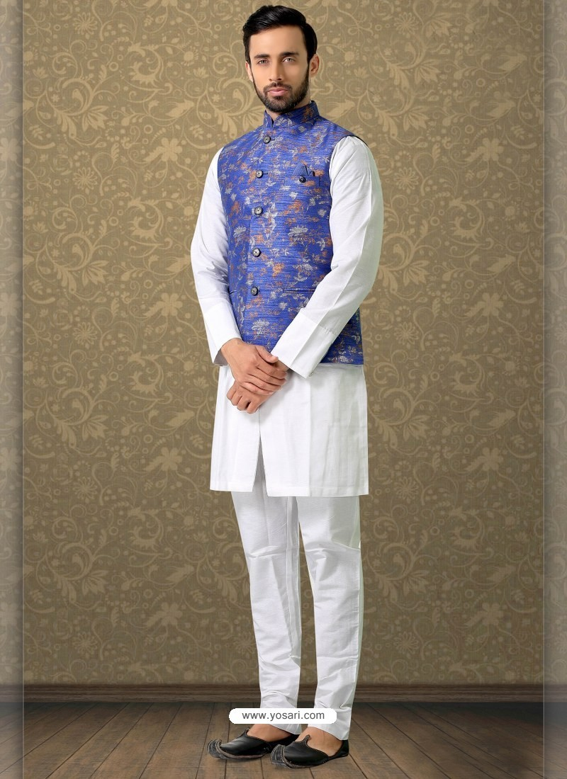 White Readymade Designer Party Wear Kurta Pajama With Jacket