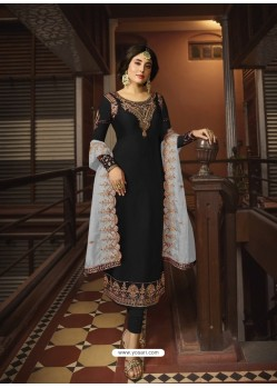 Black Designer Party Wear Georgette Satin Straight Salwar Suit