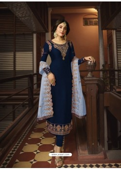 Navy Blue Designer Party Wear Georgette Satin Straight Salwar Suit