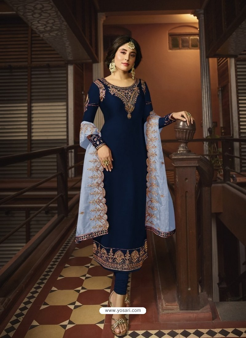 Navy Blue Designer Party Wear Georgette Satin Straight Salwar Suit