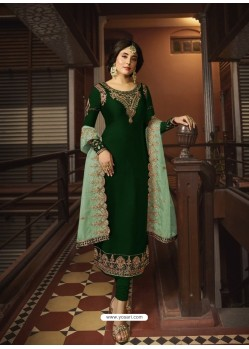 Dark Green Designer Party Wear Georgette Satin Straight Salwar Suit