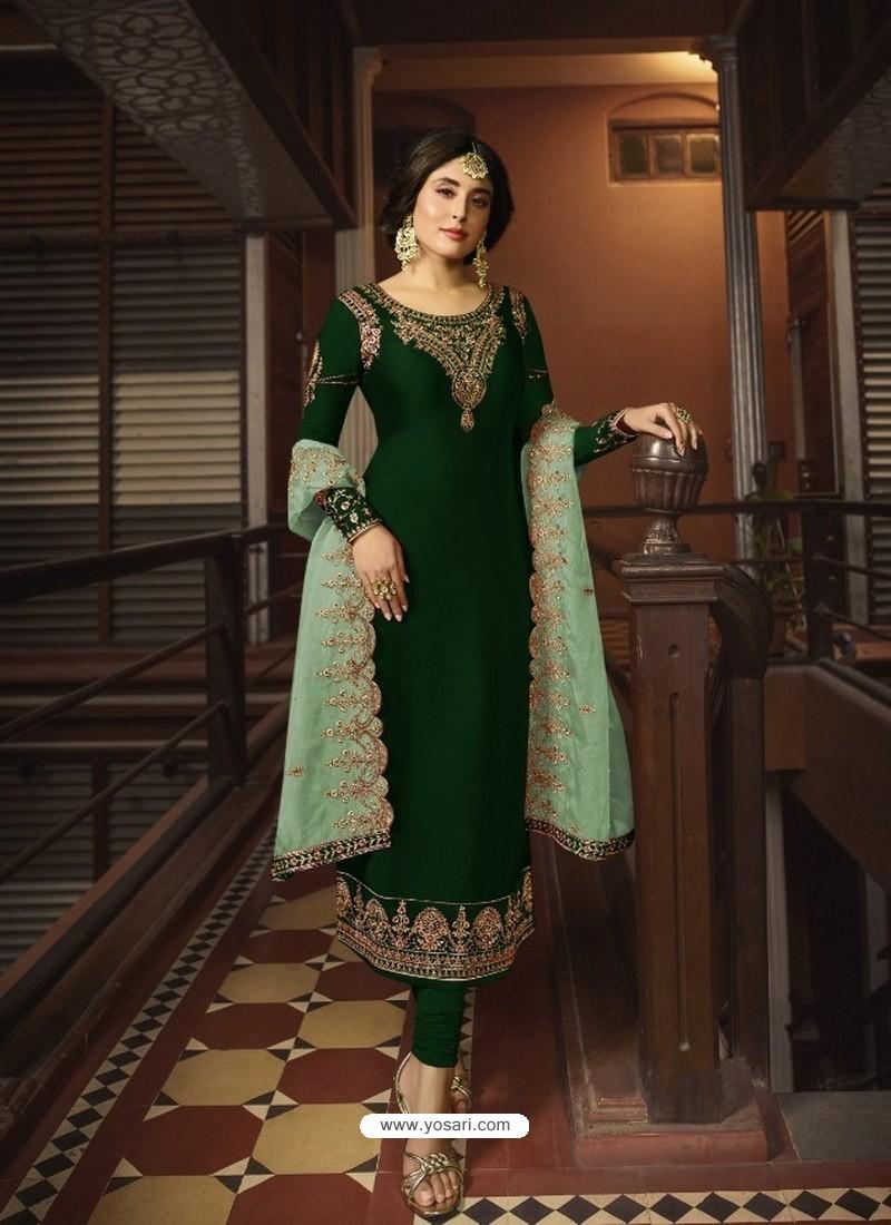 Dark Green Designer Party Wear Georgette Satin Straight Salwar Suit