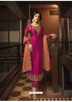 Rani Designer Party Wear Georgette Satin Straight Salwar Suit