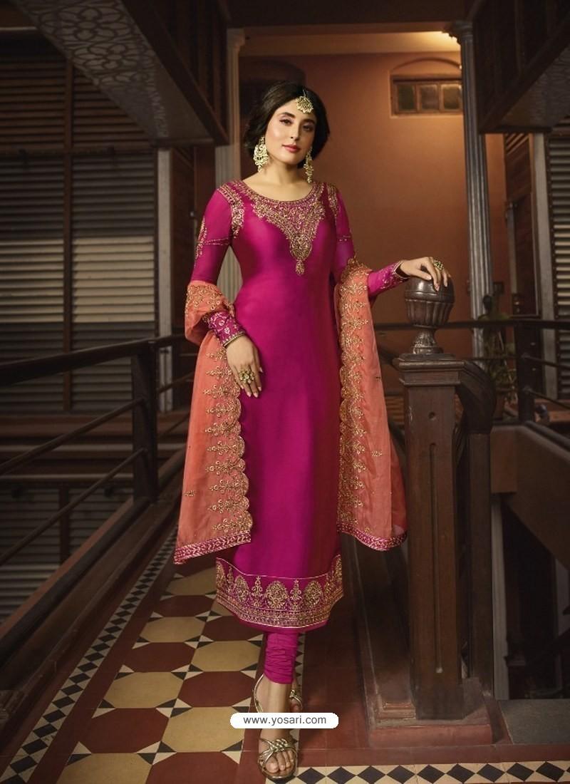 Rani Designer Party Wear Georgette Satin Straight Salwar Suit