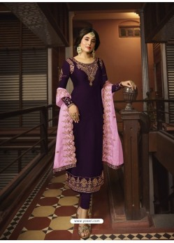 Purple Designer Party Wear Georgette Satin Straight Salwar Suit
