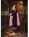 Purple Designer Party Wear Georgette Satin Straight Salwar Suit
